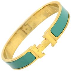 Hermes Turquoise & Gold Narrow H Clic Clac Bangle Bracelet GM