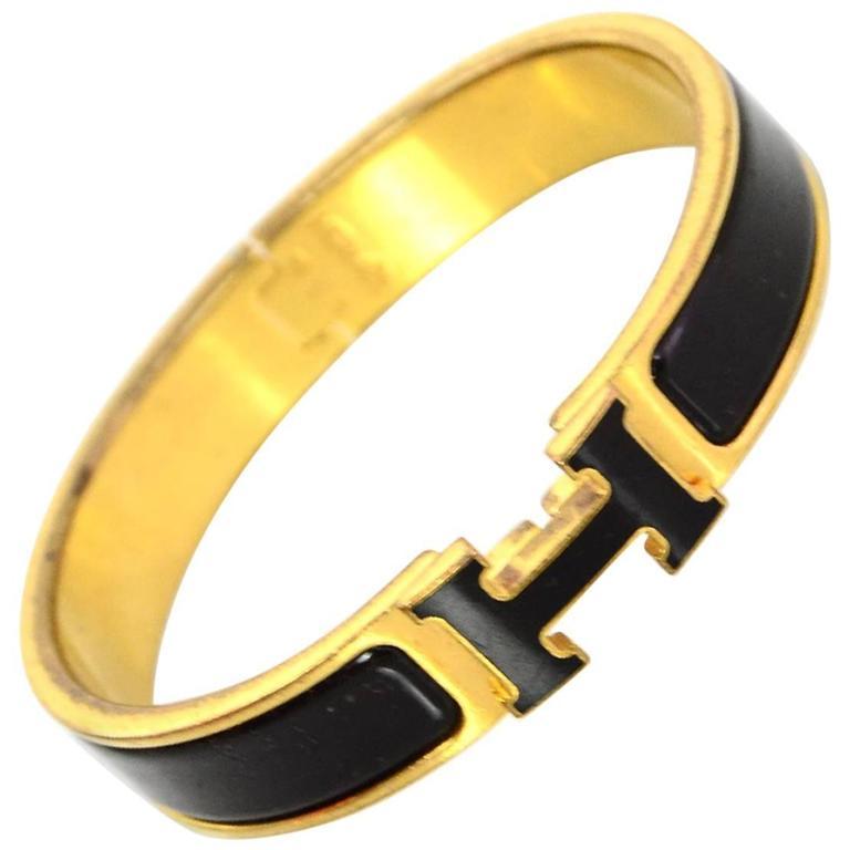 4c3d5f56fca Hermes Black & Gold Narrow Enamel H Clic Clac Bangle Bracelet PM For Sale