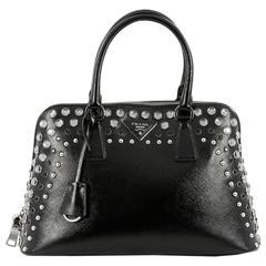 Prada Promenade Handbag Studded Vernice Saffiano Leather Medium