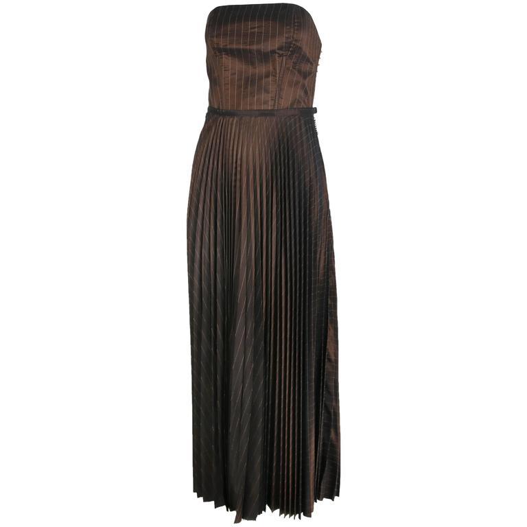 1990's Jean Paul Gaultier Striped Bustier & Pleated Skirt Ensemble For Sale