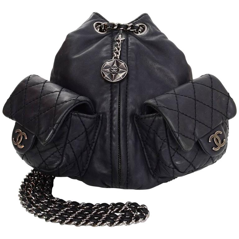 Chanel Black Leather Quilted Mini 'Backpack is Back' Bag For Sale