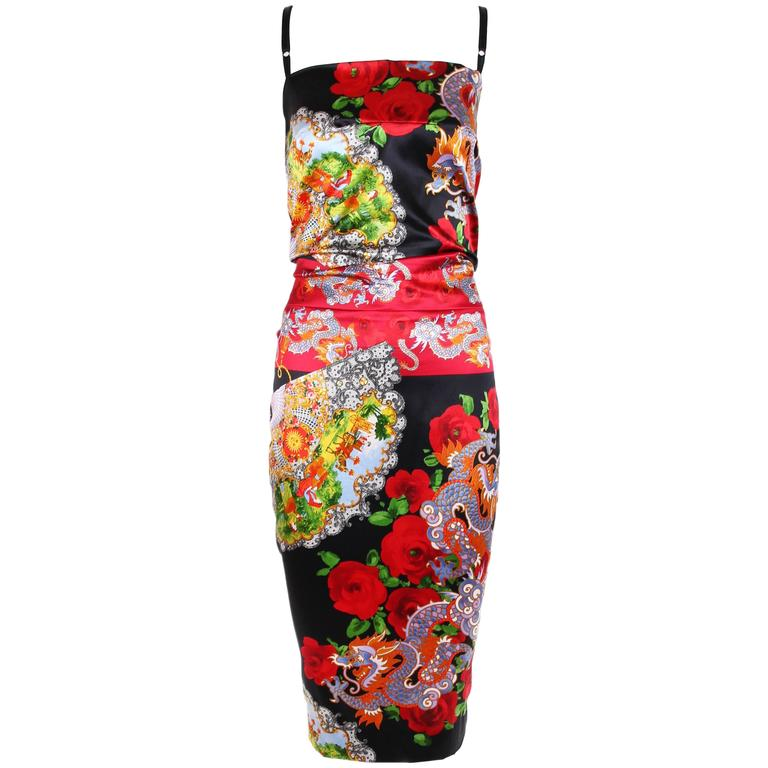 Dolce Gabbana Stretch Silk Dragon Fan Print Dress For