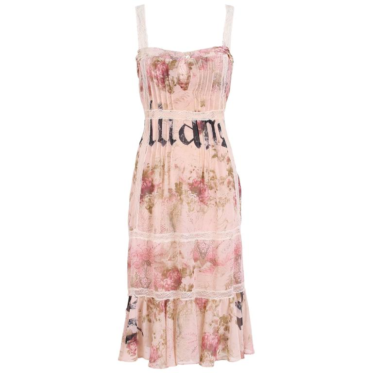 John Galliano Floral & Signature Print Dress W/Lace & Pintucking