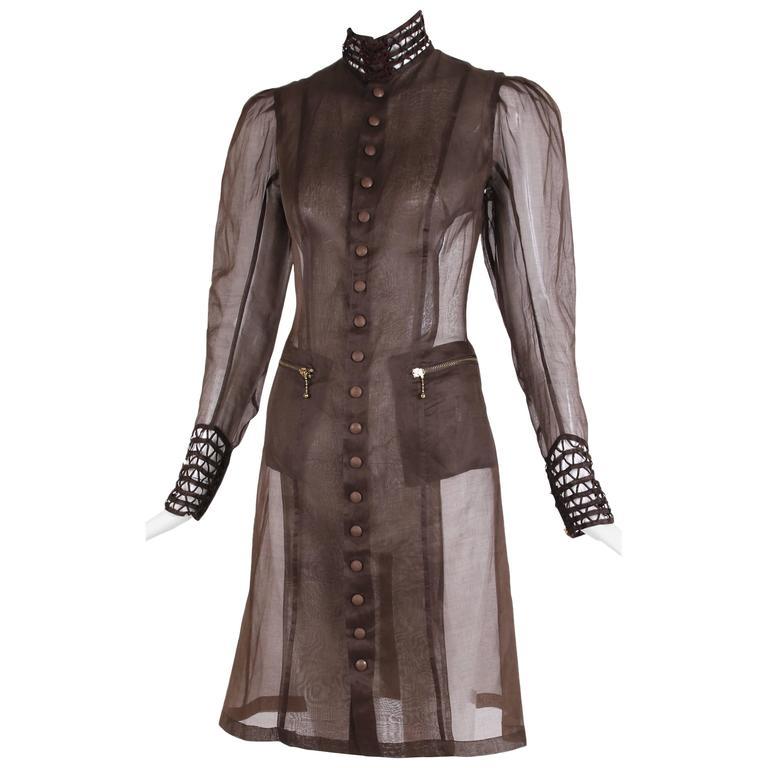 Jean Paul Gaultier Brown Sheer Silk Gazar Coat Dress c.1995-1998