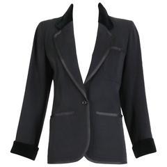 1960's Yves Saint Laurent Black Smoking Jacket w/Grosgrain & Velvet Trim