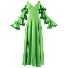 1970s British moss crepe green cold shoulder evening dress