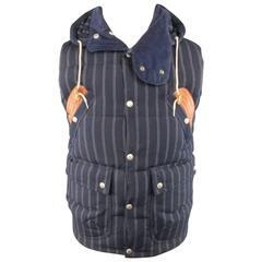 Men's JUNYA WATANABE 40 Navy Striped Wool / Mohair Quilted Down Vest