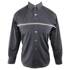 COMME des GARCONS Size S Black Cotton Long Sleeve Zip Accross Shirt