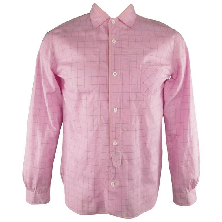 JUNYA WATANABE Size L Pink & Blue Window Pane Cotton Long Sleeve Shirt 2012