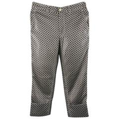 COMME des GARCONS Size S Black & White Chain Print Cuffed Pants