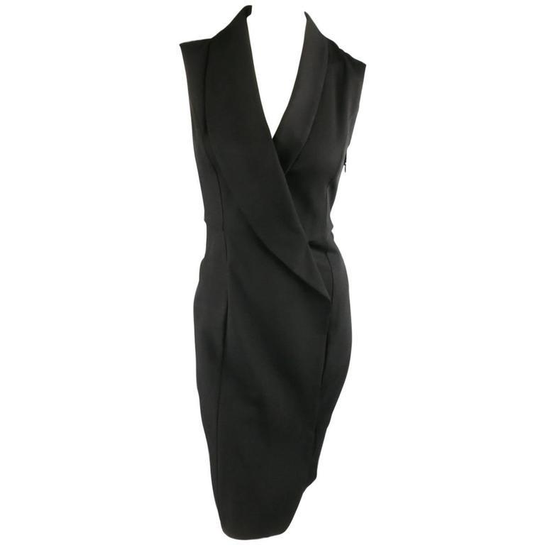 MAISON MARTIN MARGIELA Size 4 Black Wool Blend Sleeveless Wrap Tux Dress