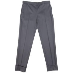 THE ROW Size 0 Navy Virgin Wool Slim Leg Cuffed Dress Pants
