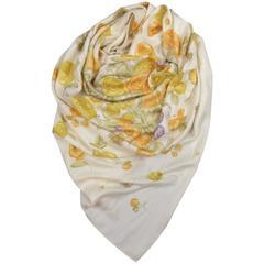 LORO PIANA Cream Silk / Cashmere Orange Gold & Purple Floral Print Shawl