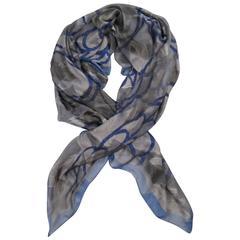GIORGIO ARMANI Grey & Navy Leaf Burnout Print Silk Chiffon Scarf