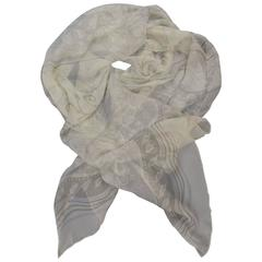 GIORGIO ARMANI Light Beige Abstract Brocade Stripe Sheer Silk Chiffon Scarf