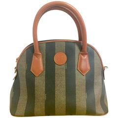 Vintage FENDI pecan khaki and grey stripe bolide bag with brown leather handles.