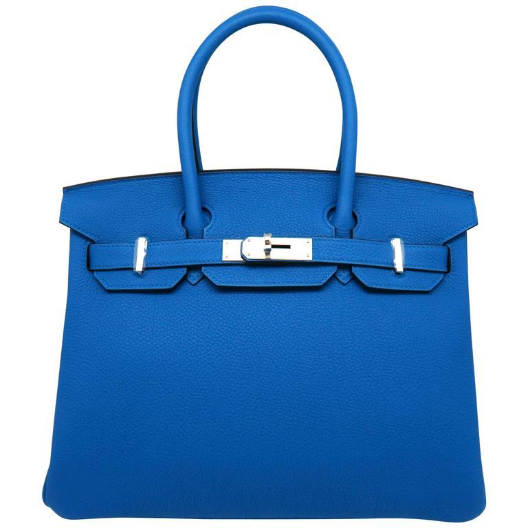 Hermes Birkin 30 Bleu Zanzibar Blue Togo Leather SHW Top Handle Bag 1