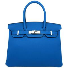 Hermes Birkin 30 Bleu Zanzibar Blue Togo Leather SHW Top Handle Bag