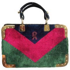 Vintage Roberta di Camerino red, green, and navy chevron velvet doctor bag.