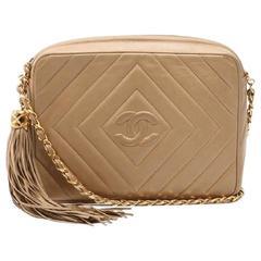 Vintage Chanel beige lamb camera bag style shoulder bag, Chevron, diamond stitch