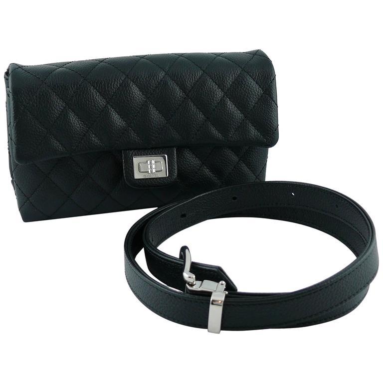 284dec08d3 Chanel Uniform Black Quilted Grained Leather Waist-Belt Bag