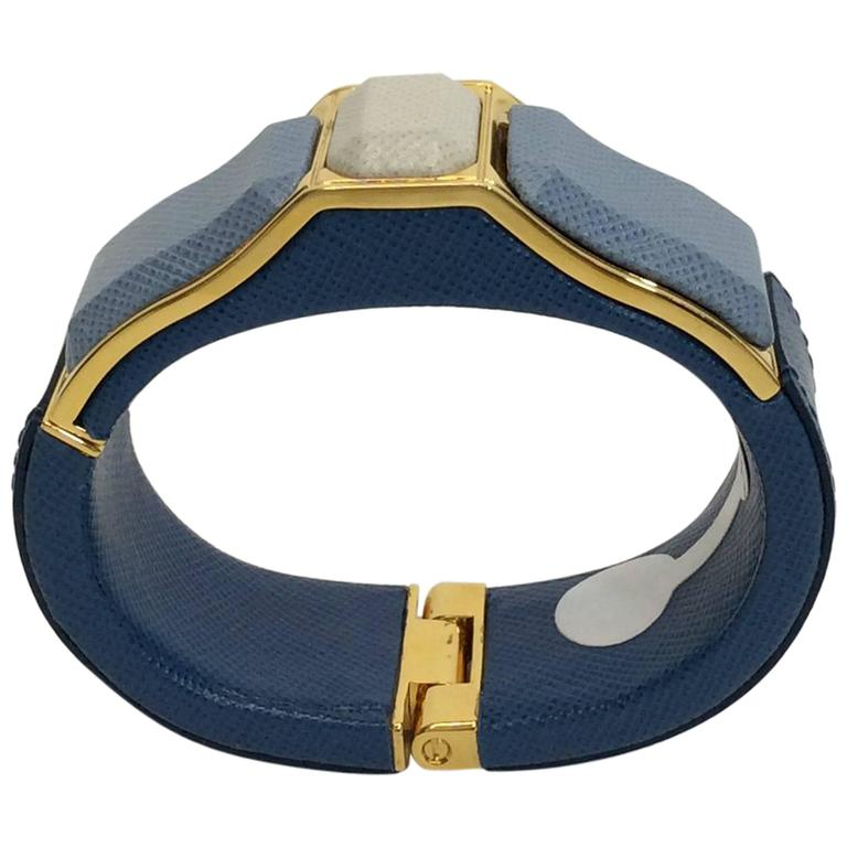 Prada Blue Leather Cuff 1