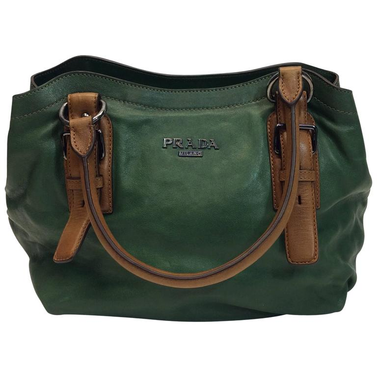 44f9507bdd8e84 Prada Olive Green Leather Tote For Sale at 1stdibs