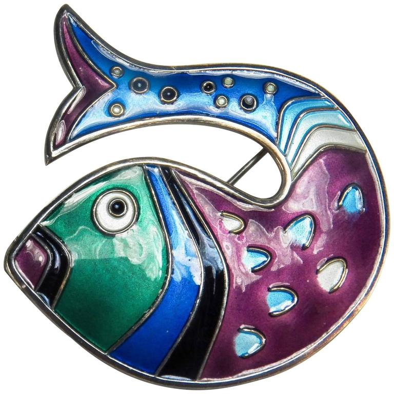 David Andersen Stylized Fish Enamel Sterling Silver Brooch Pin For Sale