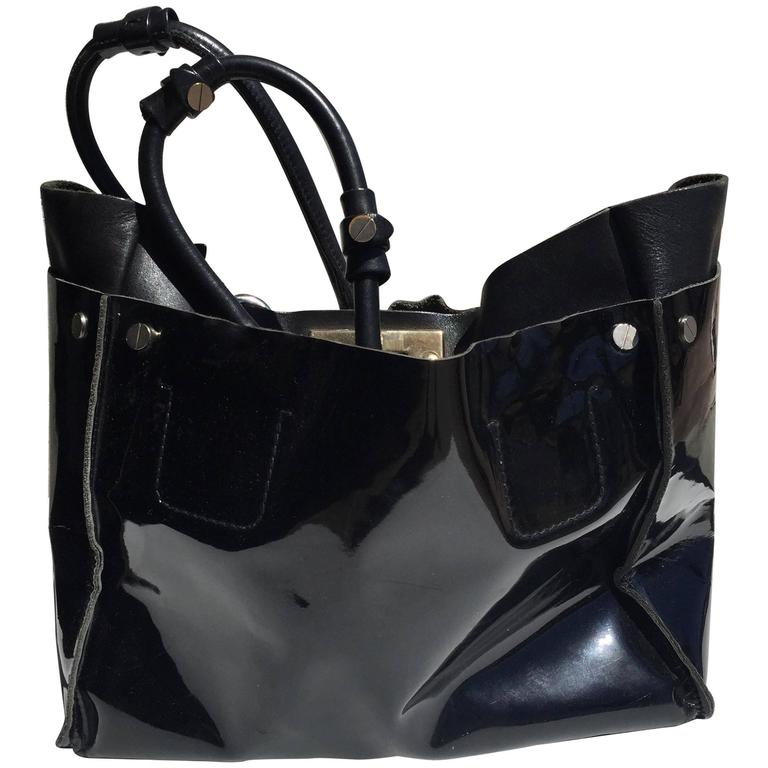 Chloe Large Black Patent Leather Cyndi Tote Bag For
