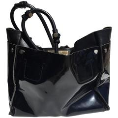 Chloe Large Black Patent Leather Cyndi Tote Bag
