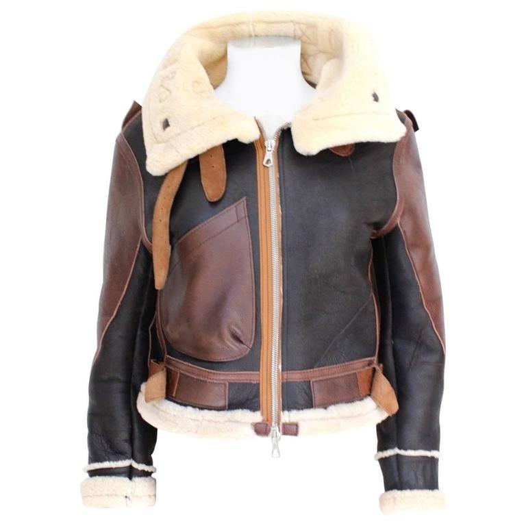 "Balenciaga Leather ""Palma"" Aviator Jacket Shearling Interior & Trim  F40 uk 12   1"