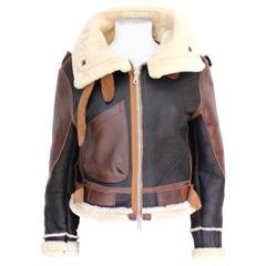 "Balenciaga Leather ""Palma"" Aviator Jacket Shearling Interior & Trim  F40 uk 12"