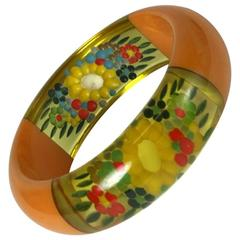 Rare and Unusual Reverse Carved Bakelite Bangle