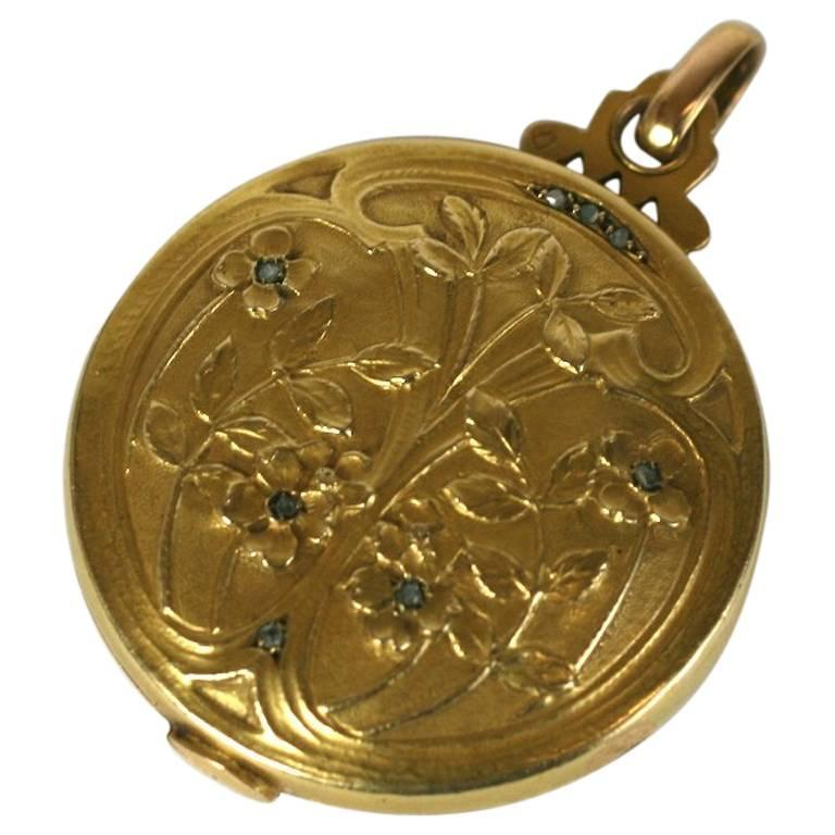 French Art Nouveau Picture and Mirror Locket 1