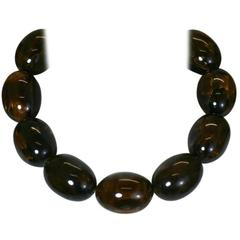 Lanvin End of Day Brown Bakelite Beads