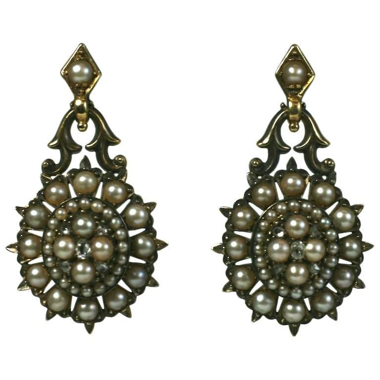 Elegant Victorian Seed Pearl Earrings 1