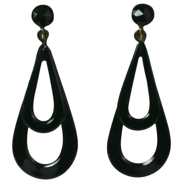 Victorian French Jet Drop Earrings For