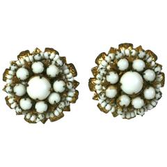 Miriam Haskell White Beaded Flowerhead Earclips