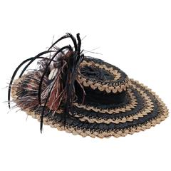 40s Straw Toy Hat w/ Feathers