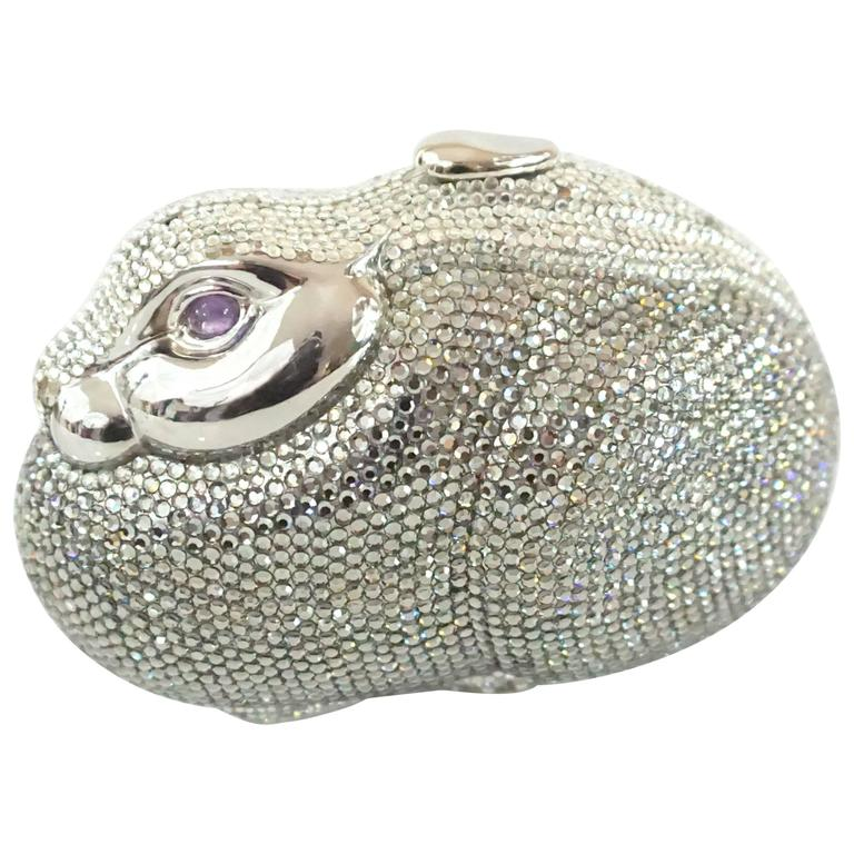 Judith Leiber Silver Rhinestone Bunny Rabbit Minaudiere  For Sale