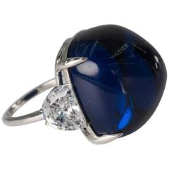 Exclusive  Synthetic Cabochon Royal Blue Sapphire CZ Diamond Ring