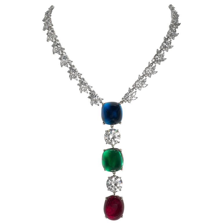Magnificent Faux Diamond Sapphire Emerald Ruby Drop Necklace 1