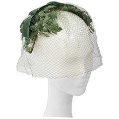 50s Green Floral Hat w/ Veil