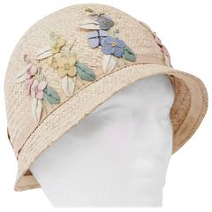 20s Child's Straw Embroidered Floral Cloche