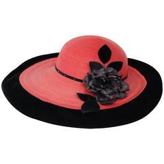 1950s Red Wide Brim Hat w/ Velvet Detail