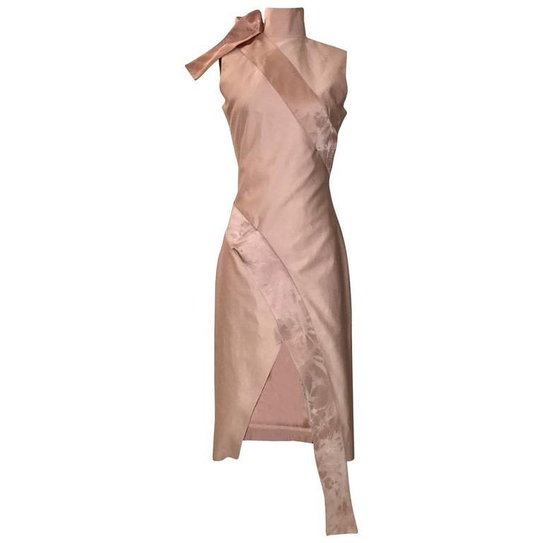 Alexander McQueen 2001 Voss Pink Midi Dress with Ribbon Wrap For Sale