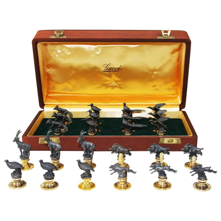 GUCCI Collection of 24 Silver 925 and Vermeil Animal Figurines Card Holders
