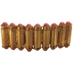 Made in France Gilt Goldtone Faux Coral Cabochon Studded Hair Ornament