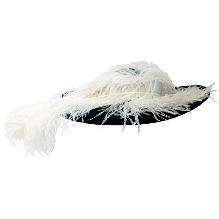 80s Adolfo for Saks 5th Black Velvet Picture Hat w/ Ostrich Plume