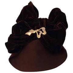 30s Brown Velvet Bow Hat
